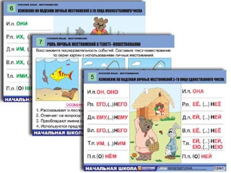 """Комплект таблиц для нач. шк. """"Русский язык. Местоимение"""" (8 табл, формат А1, лам.) - фото 57800"""