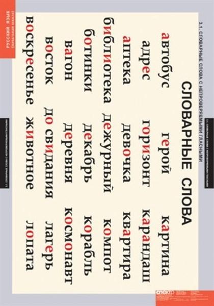 Комплект таблиц - Словарные слова - фото 57810