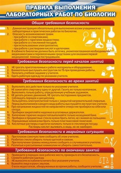Стенд Правила выполнения лабораторных работ по биологии - фото 58903