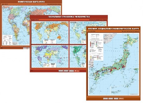 Комплект настенных учебных карт.  Экономическая и социальная география мира 10 класс - фото 59043