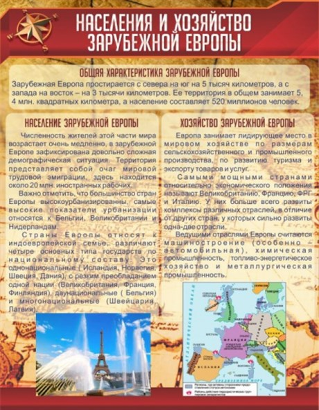 Стенд Население и хозяйство Зарубежной Европы - фото 59074