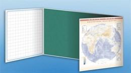 Доска аудиторная, меловая, магнитно-маркерная, трехэлементная (клетка, линейка, пропись, карта мира) + комплект тематических магнитов КМ-1