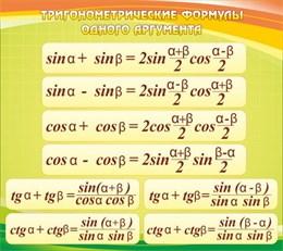 Стенд Тригонометрические формулы