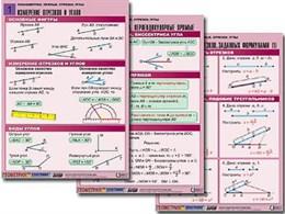 """Комплект таблиц по геометрии """"Планиметрия. Прямые. Отрезки. Углы"""" (8 табл., А1, лам.)"""