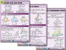 """Комплект таблиц по геометрии """"Стереометрия. Вычисление расстояний и углов в пространстве""""(8т,А1,лам)"""