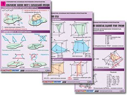 """Комплект таблиц по геометрии """"Стереометрия. Основные построения в пространстве"""" (8 табл., А1, лам.)"""