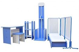 Набор игровой мебели «Поликлиника» (6 предметов): стол, табурет, стойка для лекарств, ростомер, кушетка, ширма.
