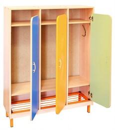 Шкаф детской одежды трехместный с решеткой для обуви на металлокаркасе ( дверки цветные закругленные)