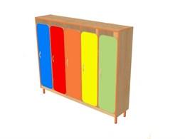 Шкаф детской одежды пятиместный с решеткой для обуви на металлокаркасе ( дверки цветные закругленные)
