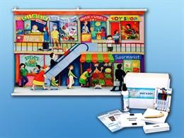 """Магнитно-маркерный ситуационный плакат """"Магазин"""" с набором магнитных карточек + методические рекомендации (английский язык)"""