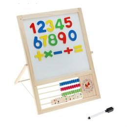 Доска магнитная двухсторонняя на подставке, счеты, часы, мел, цифры
