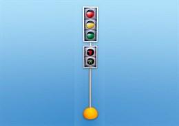 Модель транспортного и пешеходного светофоров на стойке и основании с магнитными элементами