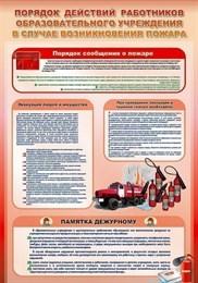 """Стенд """"Порядок действий работников школы при пожаре"""""""