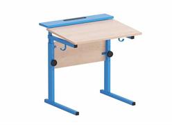 Стол ученический регулируемый с наклоном столешницы (0-15°) на прямоугольной трубе (панель/труба цветная)