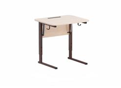 Стол ученический регулируемый с наклоном столешницы (0-24°)  углы столешницы закруглены. Каркас на  прямоугольной трубе, цвет: коричневый