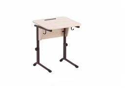 Стол ученический регулируемый. Наклон столешницы(0-24°), углы столешницы закруглены. Каркас на плоскоовальной трубе: коричневый