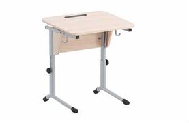 Стол ученический регулируемый. Наклон столешницы(0-24°), углы столешницы закруглены. Каркас на плоскоовальной трубе: серебристый